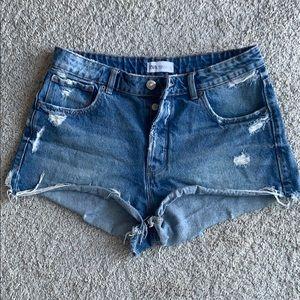Zara Mid-rise Distressed Shorts